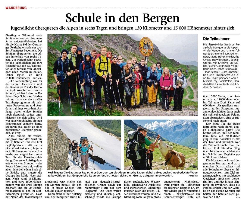 Zeitungsartikel alpen